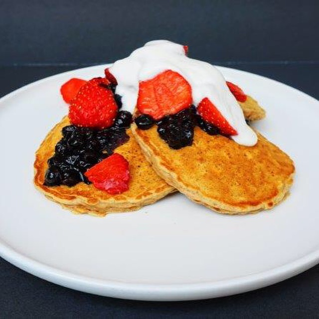 Barley Buttermilk Pancakes with Blueberry Compote, Fresh Strawberries and Maple Yogurt