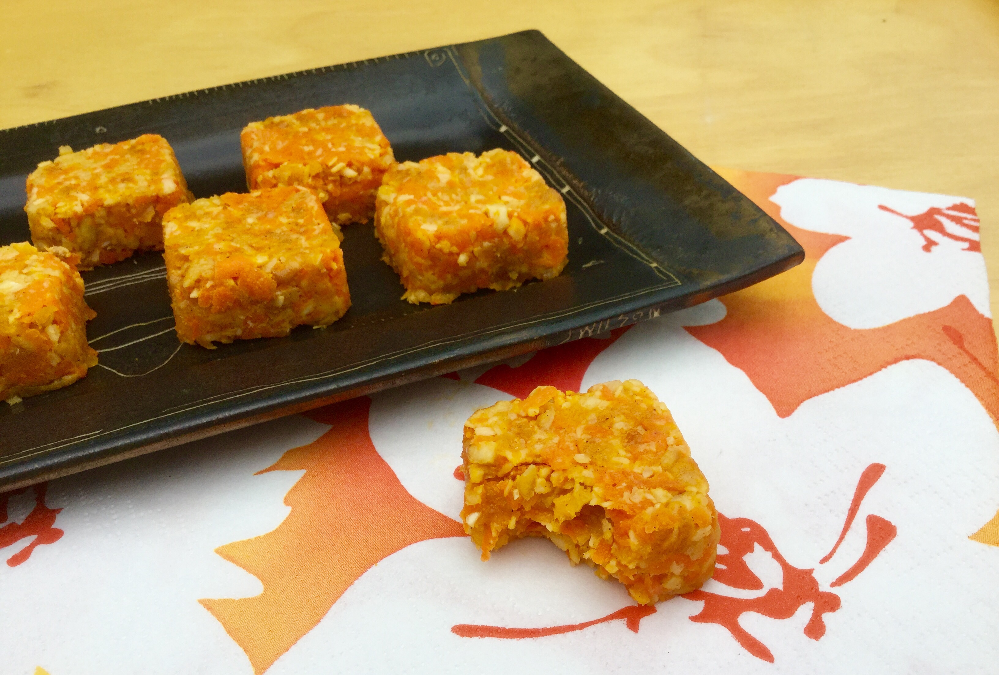 These energy squares are fresh and light with freshly grated carrot, apricots and cashews. There is no sugar needed as the apricots provide natural sweetness