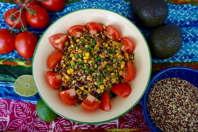 Roasted Corn, Black Bean and Ancient Grains Salad. This delicious, very nutritious salad is vegan and gluten free.  It is the perfect dish to bring to a BBQ or a potluck.
