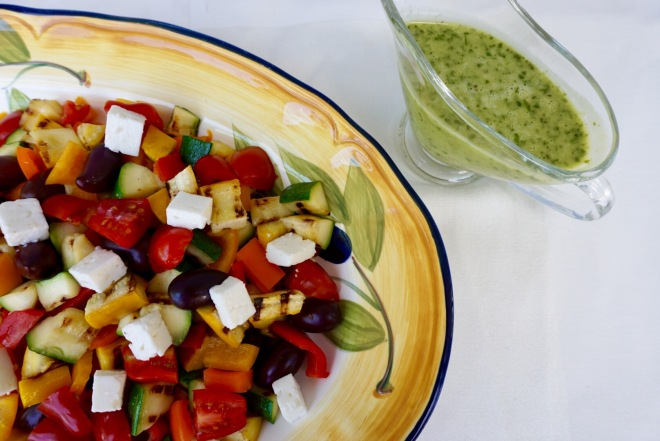 Grilled Zucchini Greek Salad