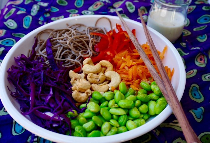 Soba Edamame Salad with TahiniDressing