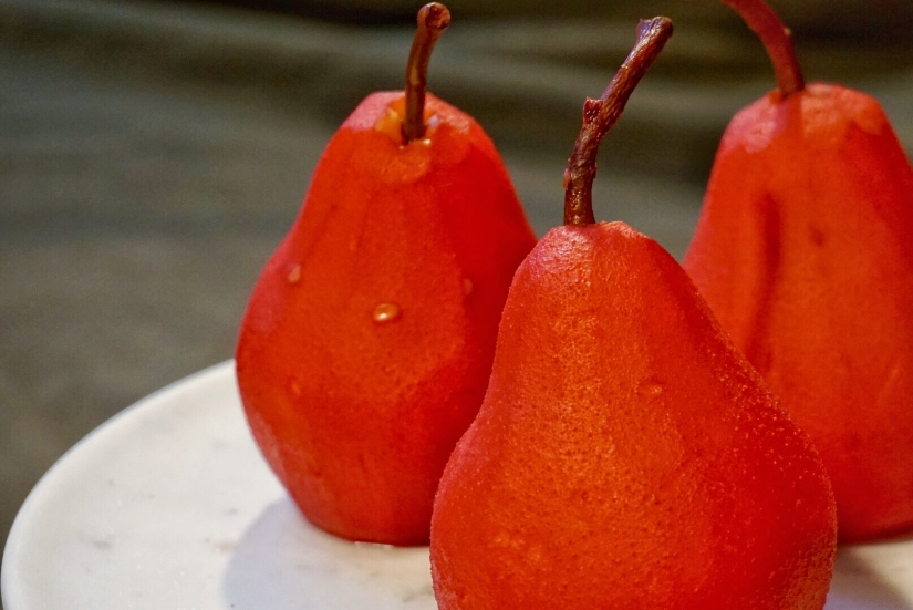 Poached Pears in Blackberry Apple Juice